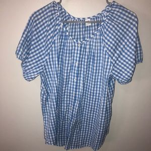 Blue and White Gingham Old Navy Button Down